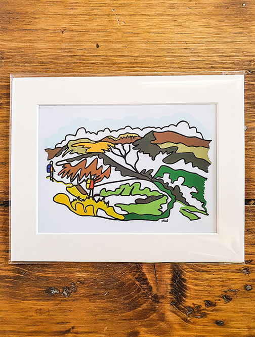 Scafell Pike Squiggle Mounted Print
