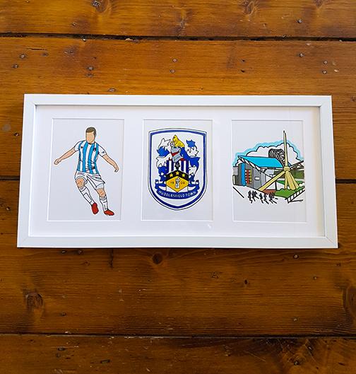 Huddersfield Town HTAFC Triple Framed Artwork