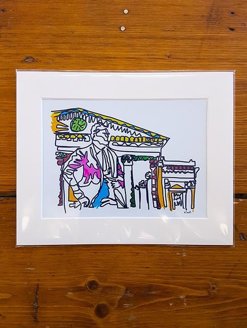 Harold Wilson Squiggle Mounted Artwork Print