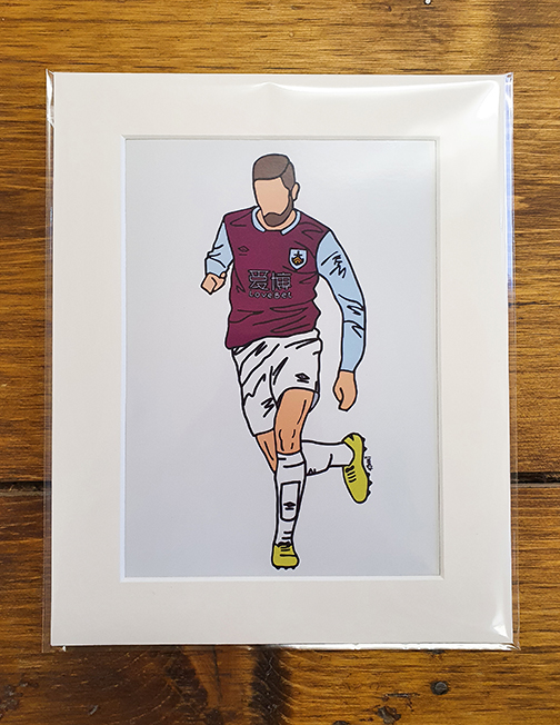 Burnley FC (BFC) Player Mounted  Print