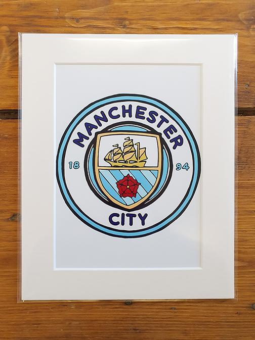 Man City (MCFC) Emblem Mounted Artwork Print