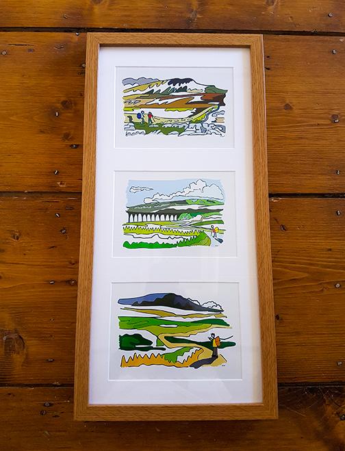 Yorkshire Three Peaks (Y3P/3 Peaks) Triple Framed Artwork