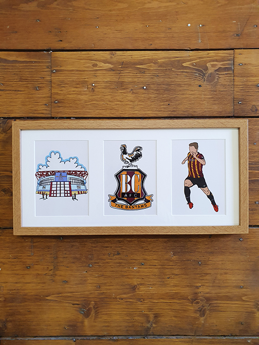 Bradford City AFC (BCAFC) Triple Framed Artwork