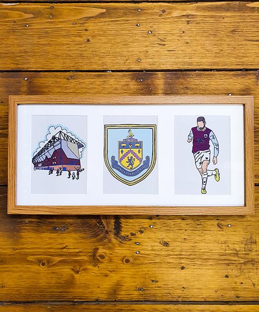 Burnley FC (BFC) Triple Framed Artwork