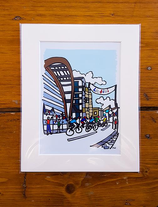 Cycling Sheffield Mounted Artwork Print