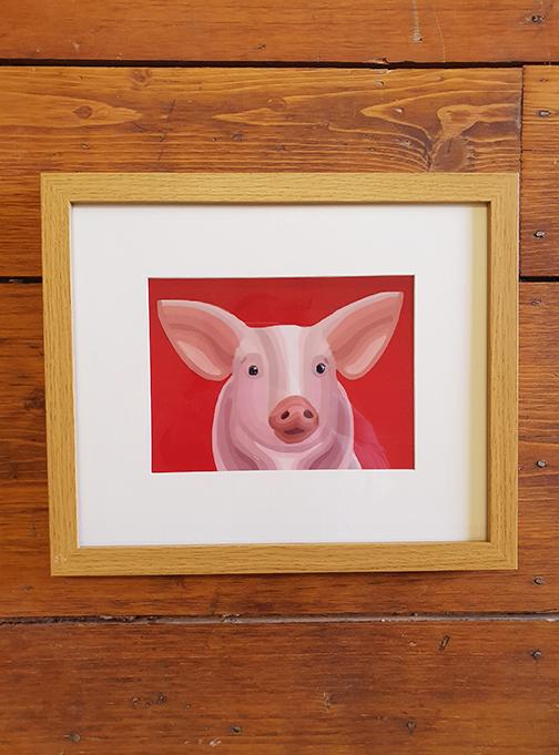 Pig 12 x 10 Framed Artwork
