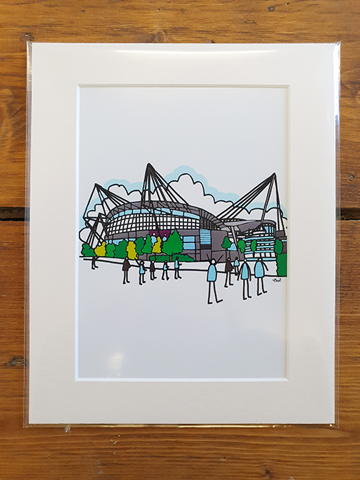 Man City (MCFC) Etihad Stadium Mounted Artwork Print