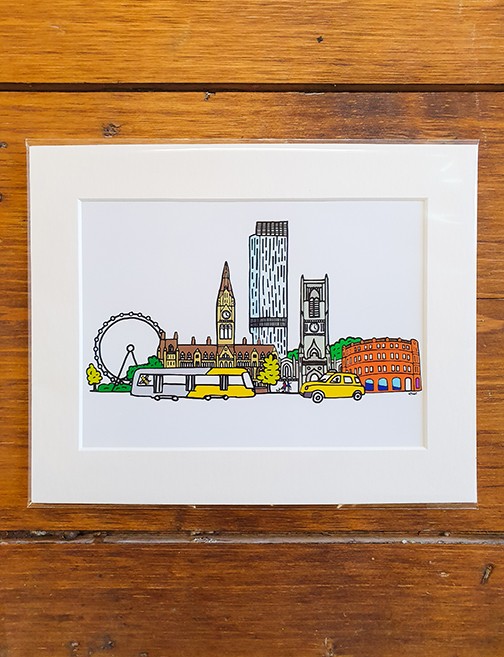 Manchester 10 x 8 Mounted Artwork Print