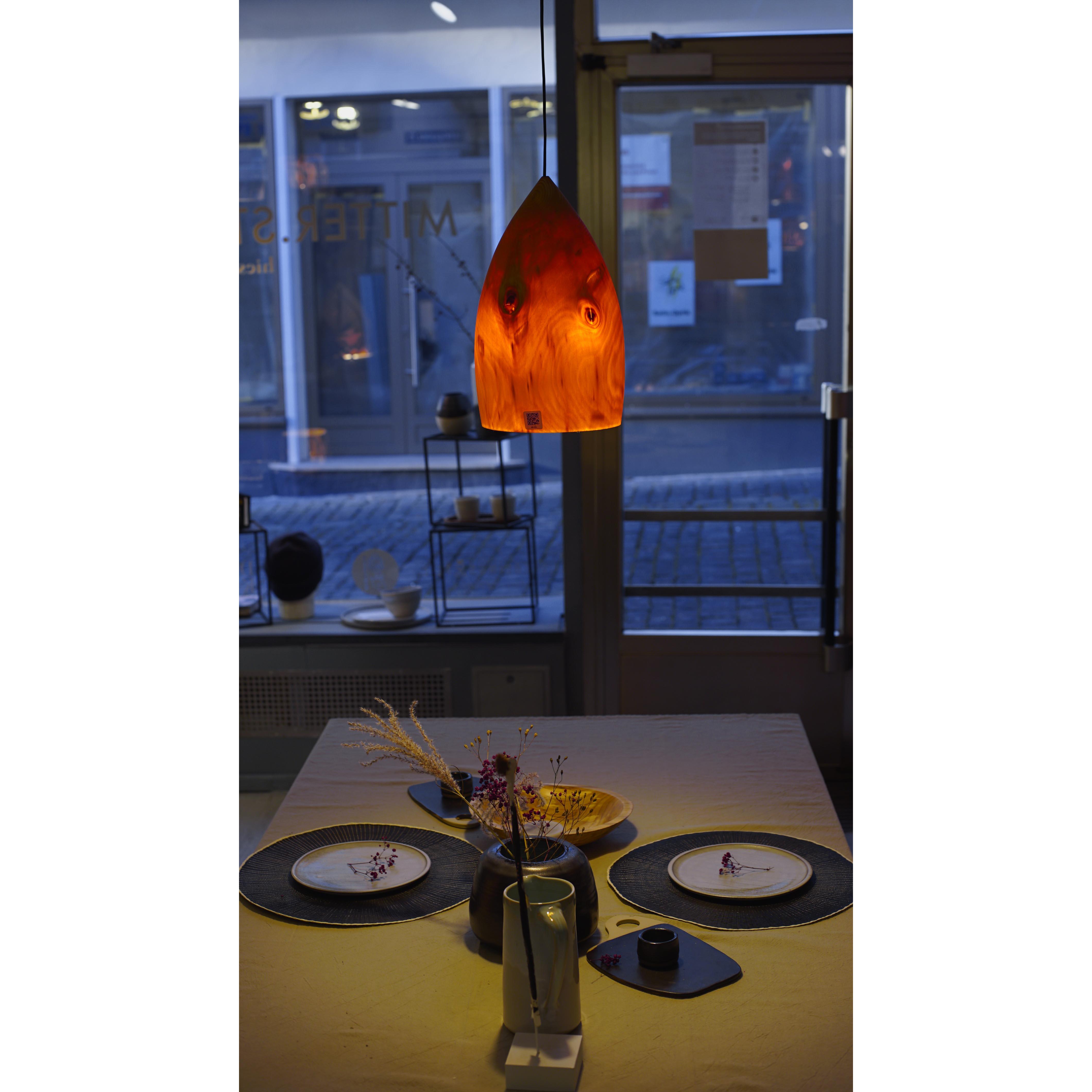 Holzlampe Fichte Mittel/KLein D21 H32 / Ohne Kabel/Installation HD-L016