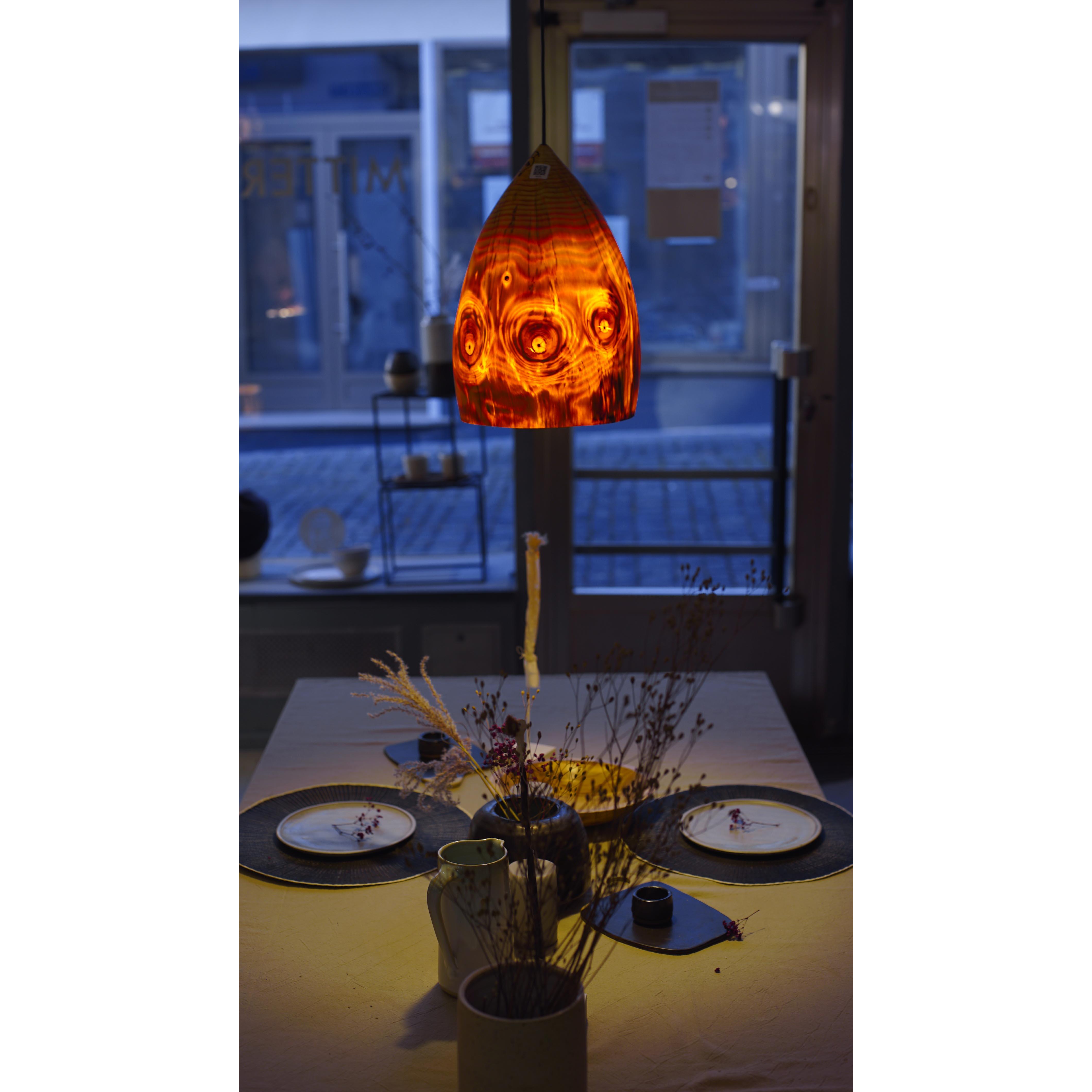 Holzlampe Kiefer mittel D24 H36 / ohne Installation und Leuchtmittel HD-L066