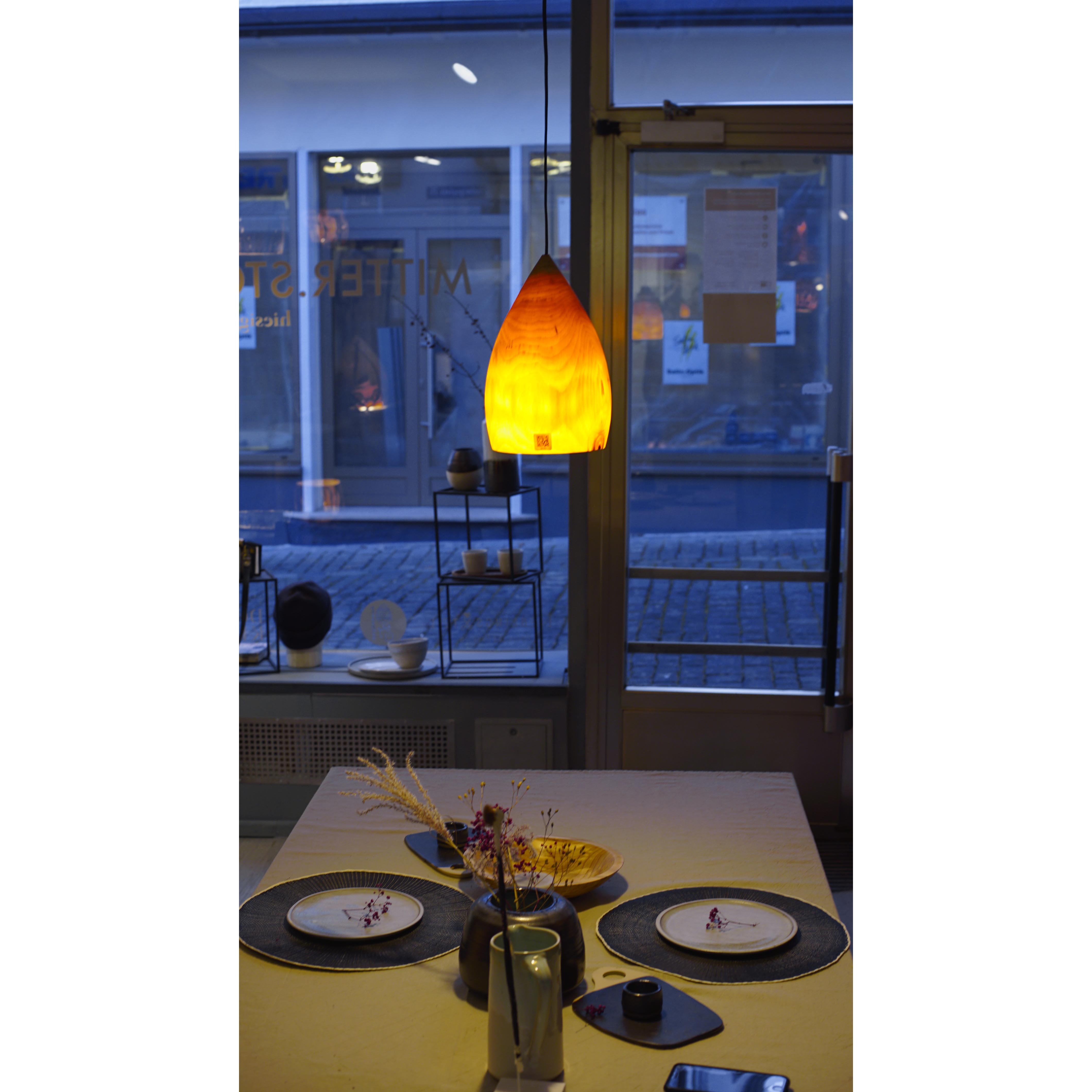 Holzlampe Birke Klein D17 H25 / Ohne Kabel/Installation HD-L020