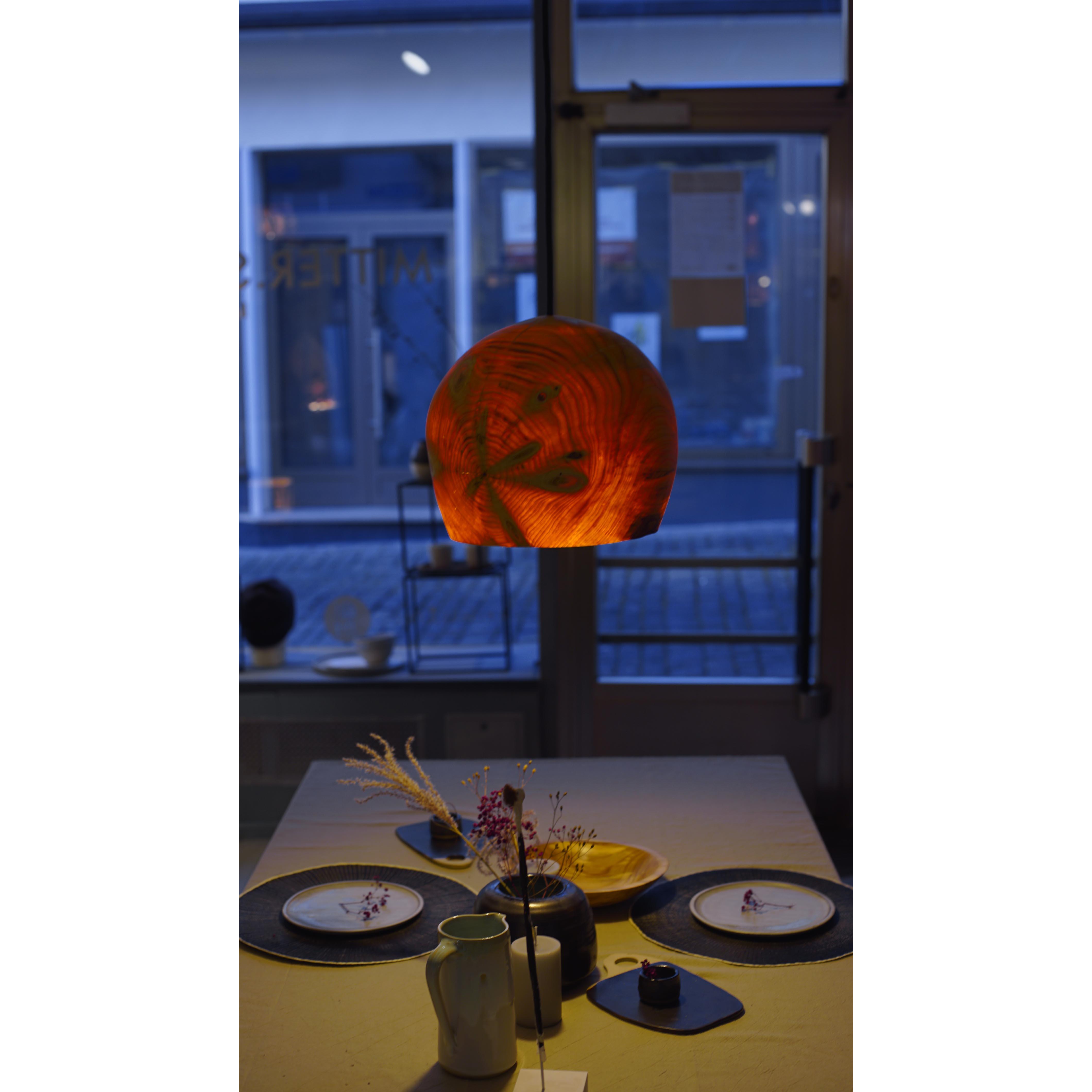 Holzlampe Fichte mittel D34 H27 / ohne Installation und Leuchtmittel HD-L053