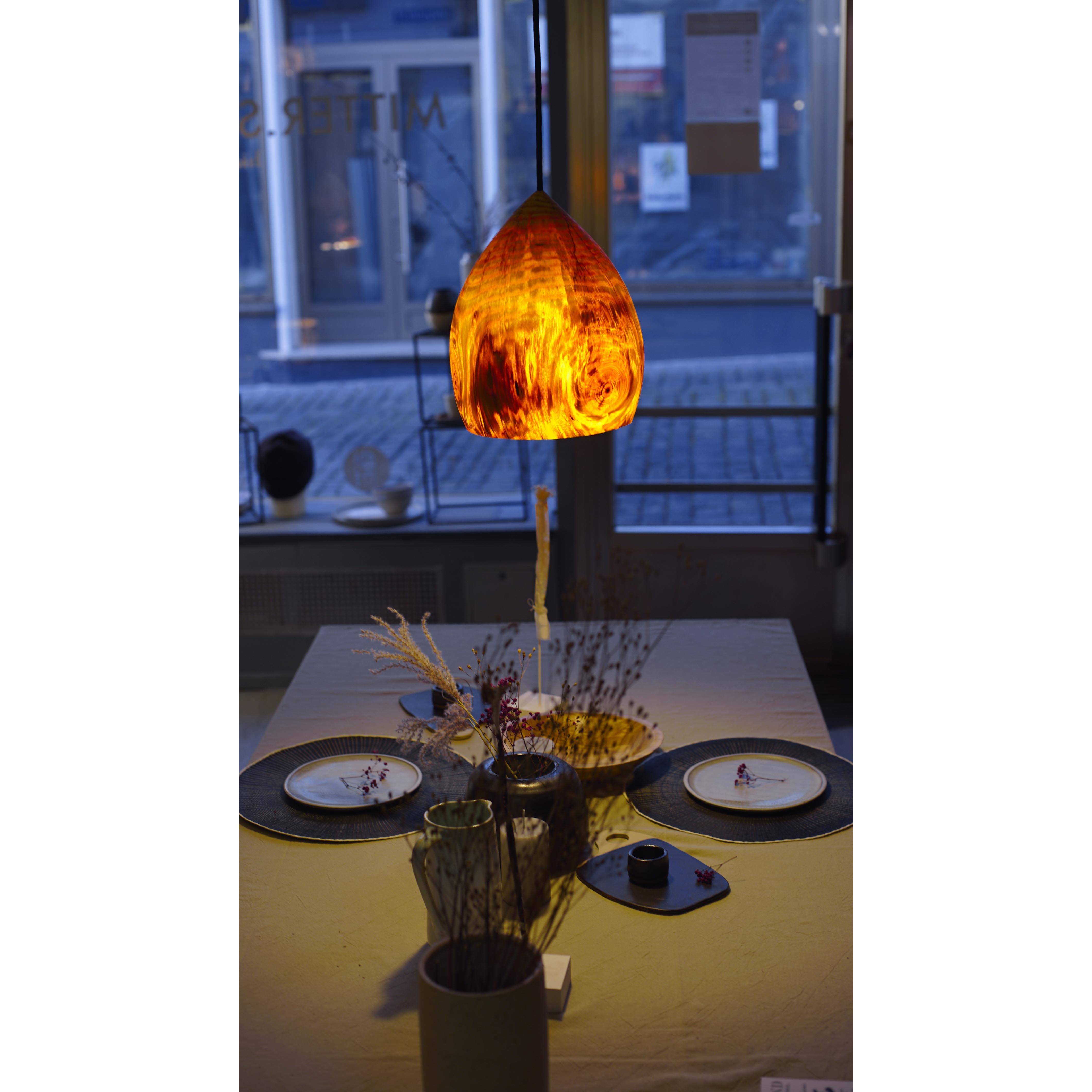 Holzlampe Kiefer mittel D24 H30 / ohne Installation und Leuchtmittel HD-L068