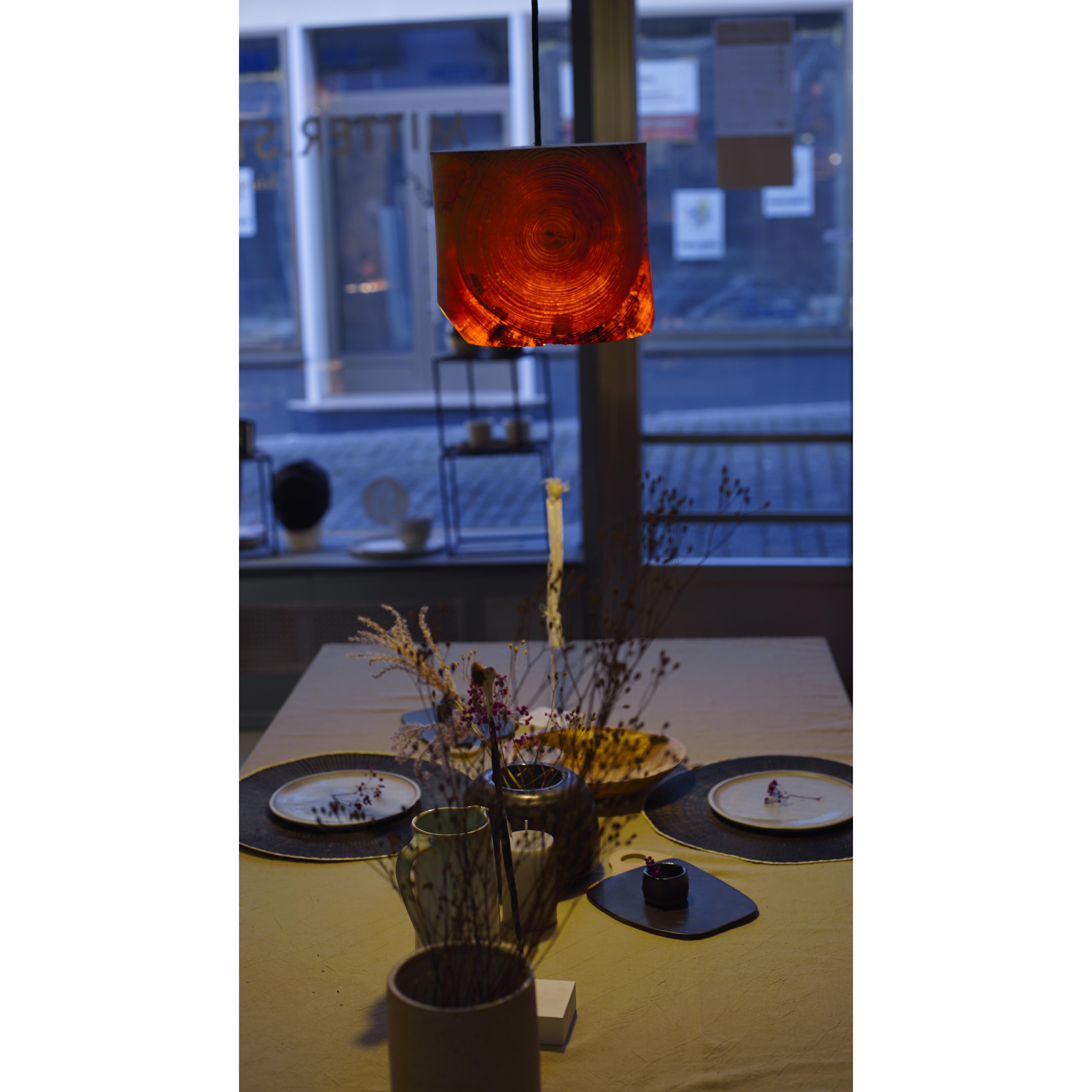 Holzlampe Fichte mittel D24 H22 / ohne Installation und Leuchtmittel HD-L056