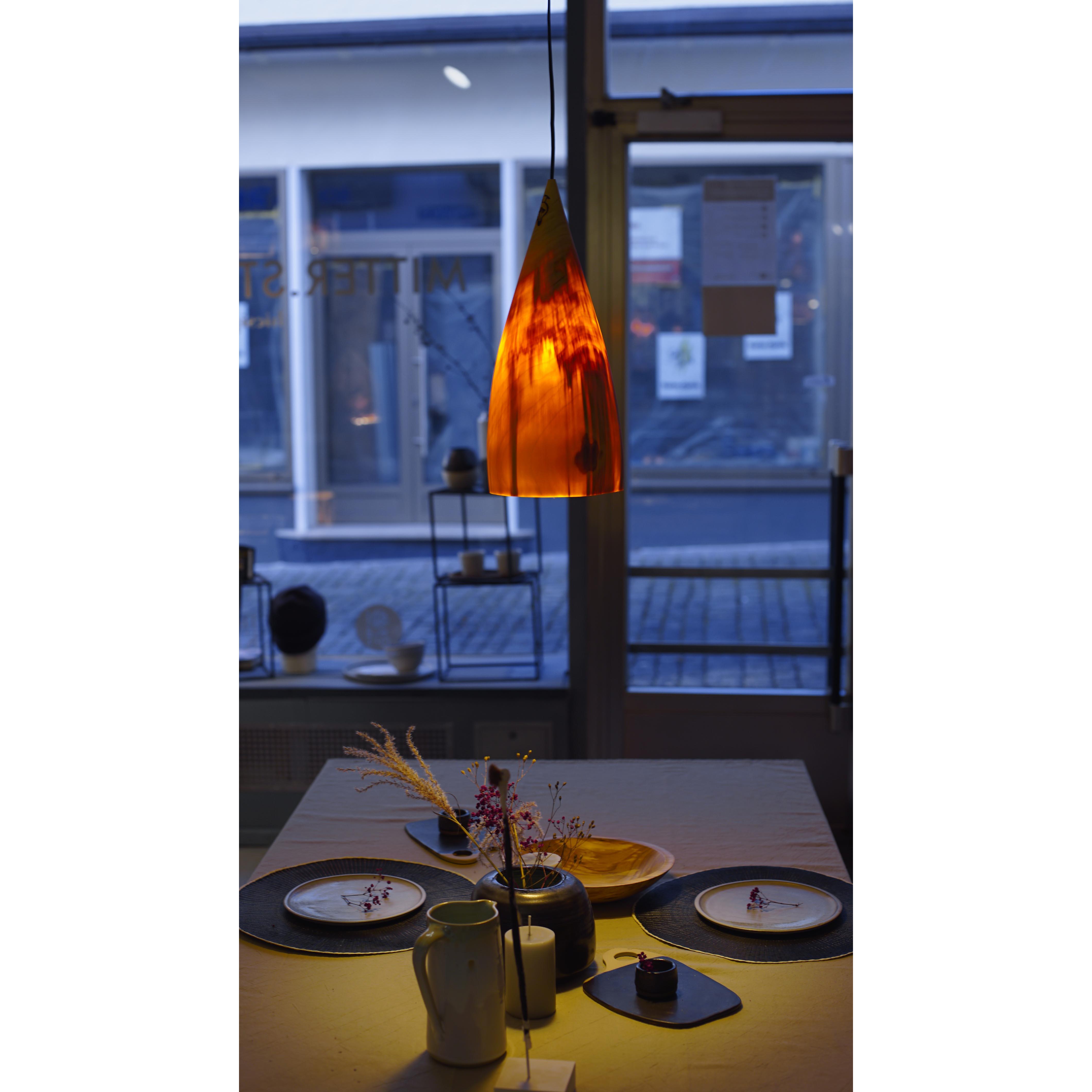 Holzlampe Pappel klein D17 H40 / ohne Installation und Leuchtmittel HD-L041