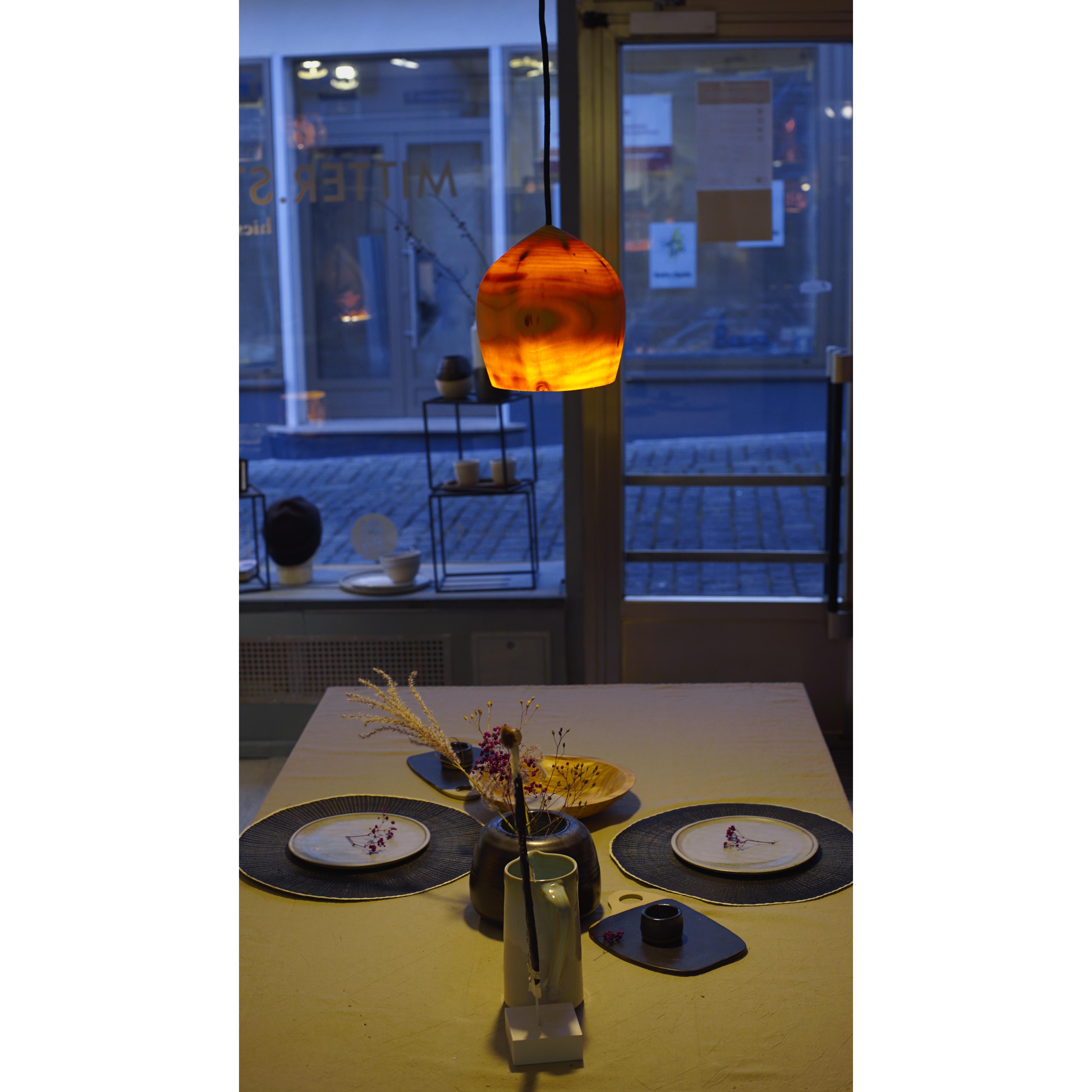 Holzlampe Fichte klein D18 H20 / ohne Installation und Leuchtmittel HD-L052