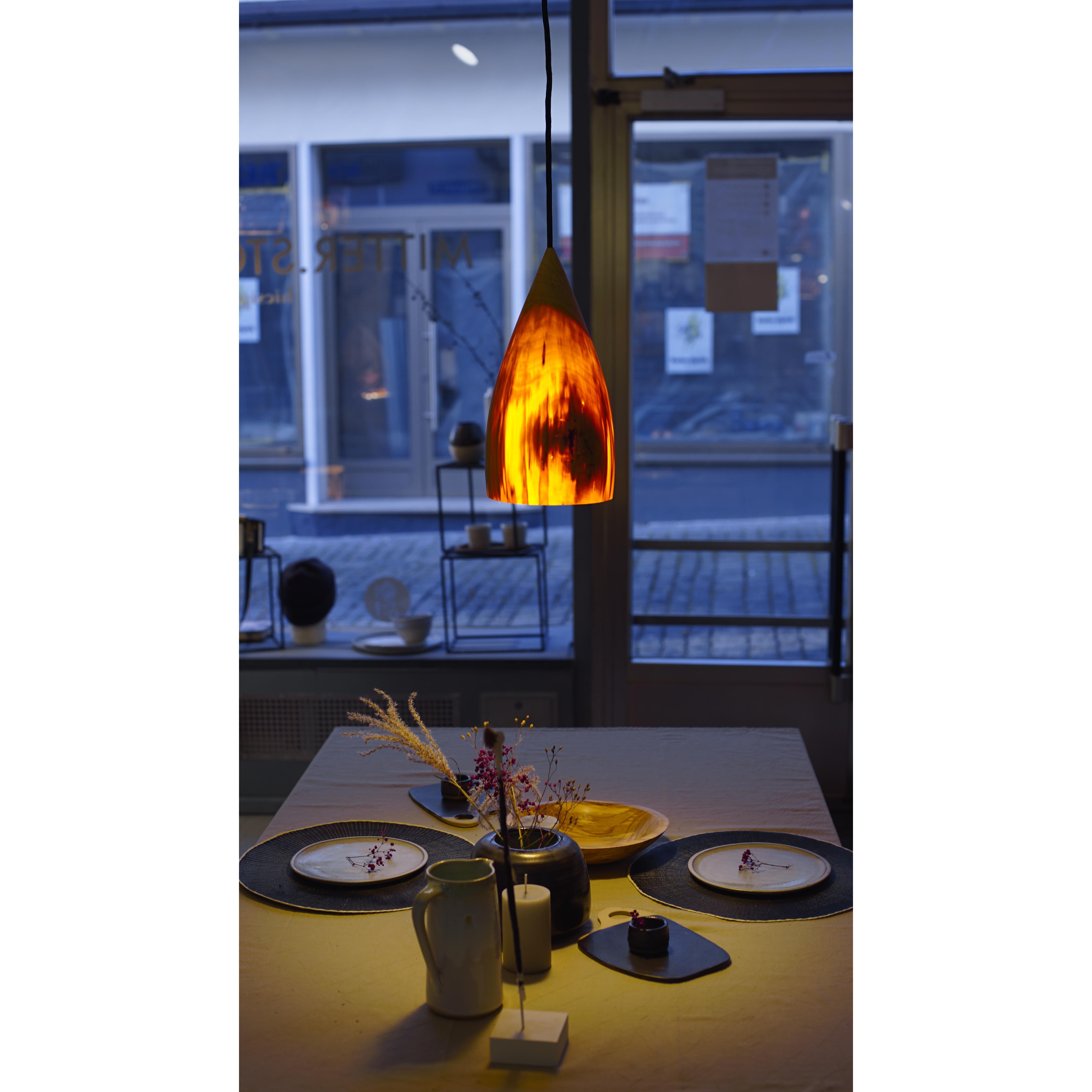 Holzlampe Pappel groß D17 H33 / ohne Installation und Leuchtmittel HD-L042