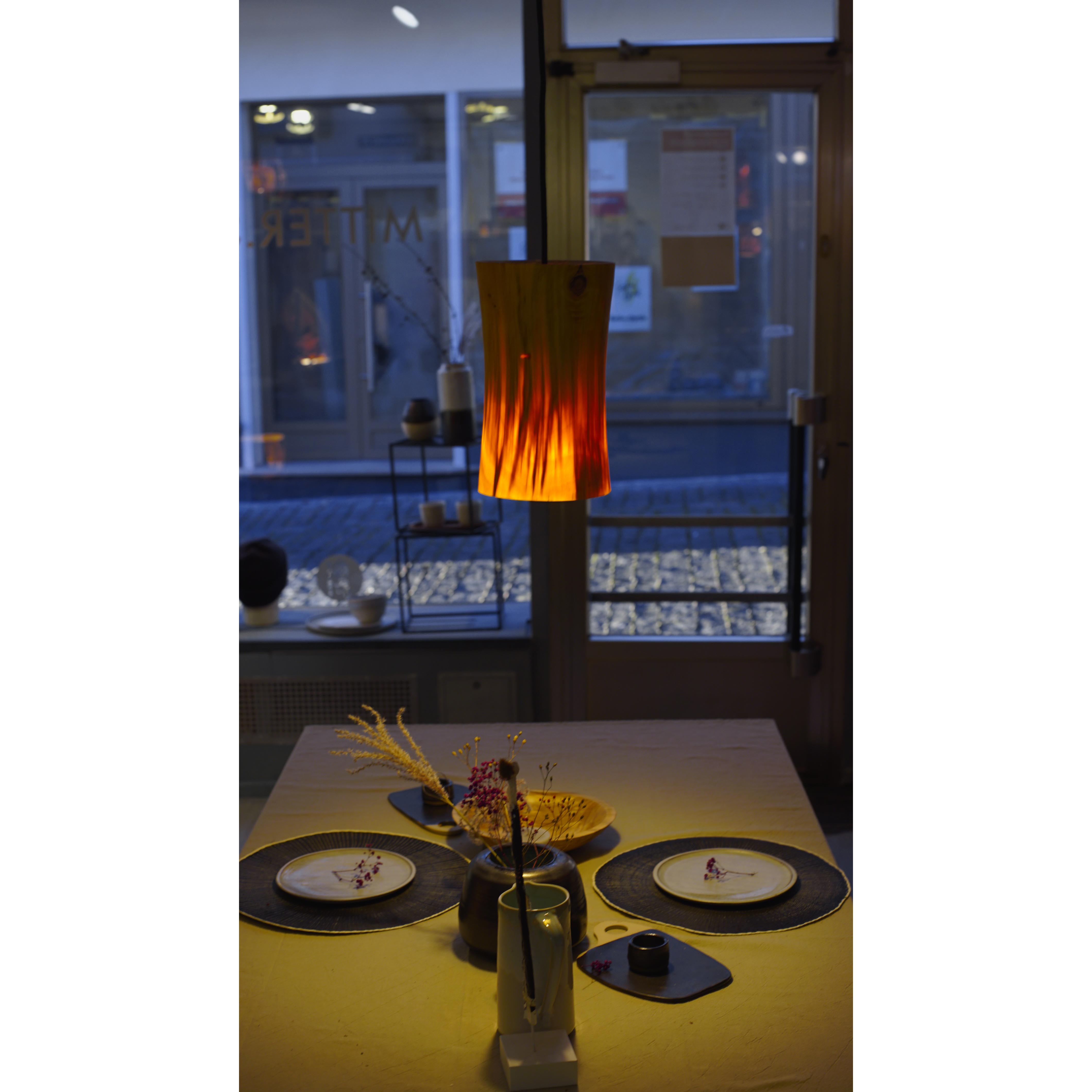 Holzlampe Pappel klein D18 H21 / ohne Installation und Leuchtmittel HD-L035