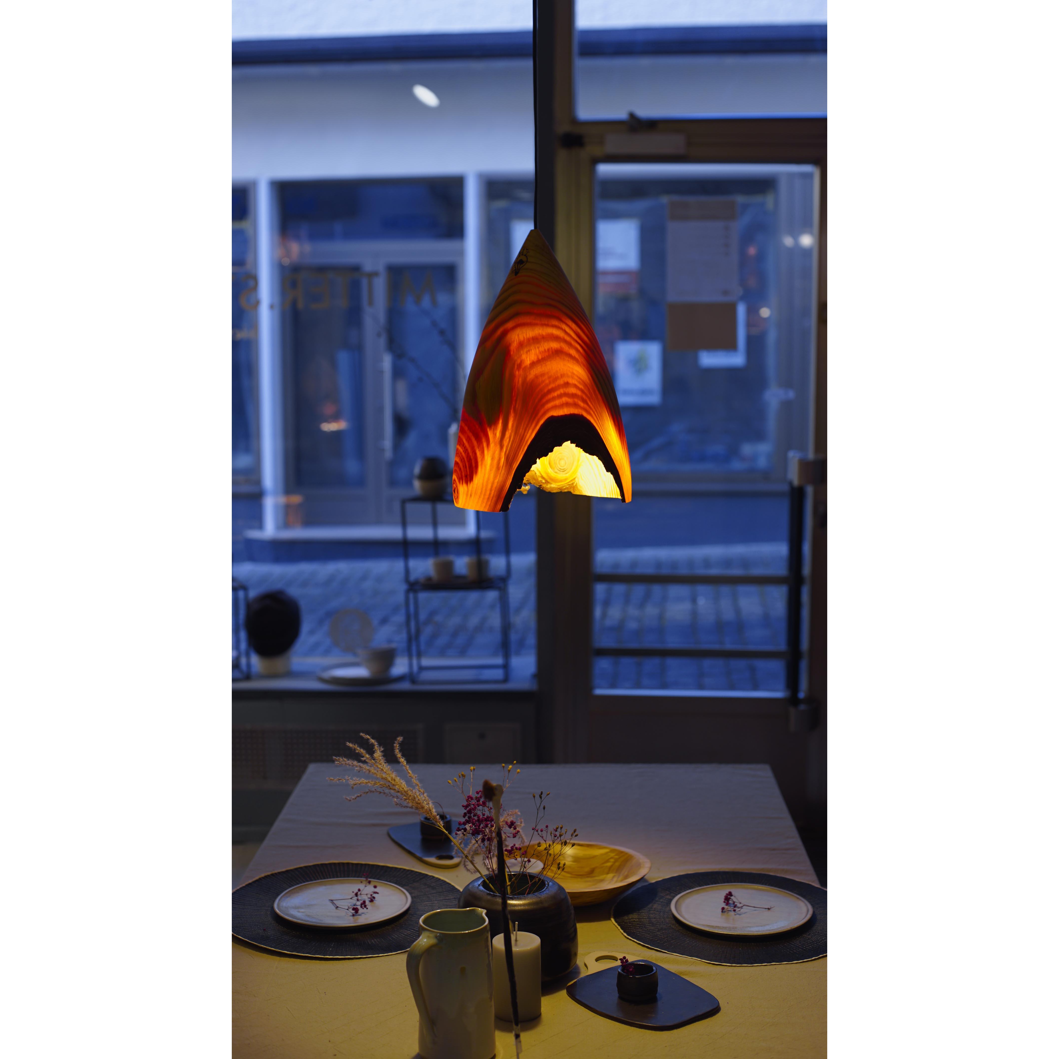 Holzlampe Kiefer Mittel D24 H36 / ohne Installation und Leuchtmittel HD-L045