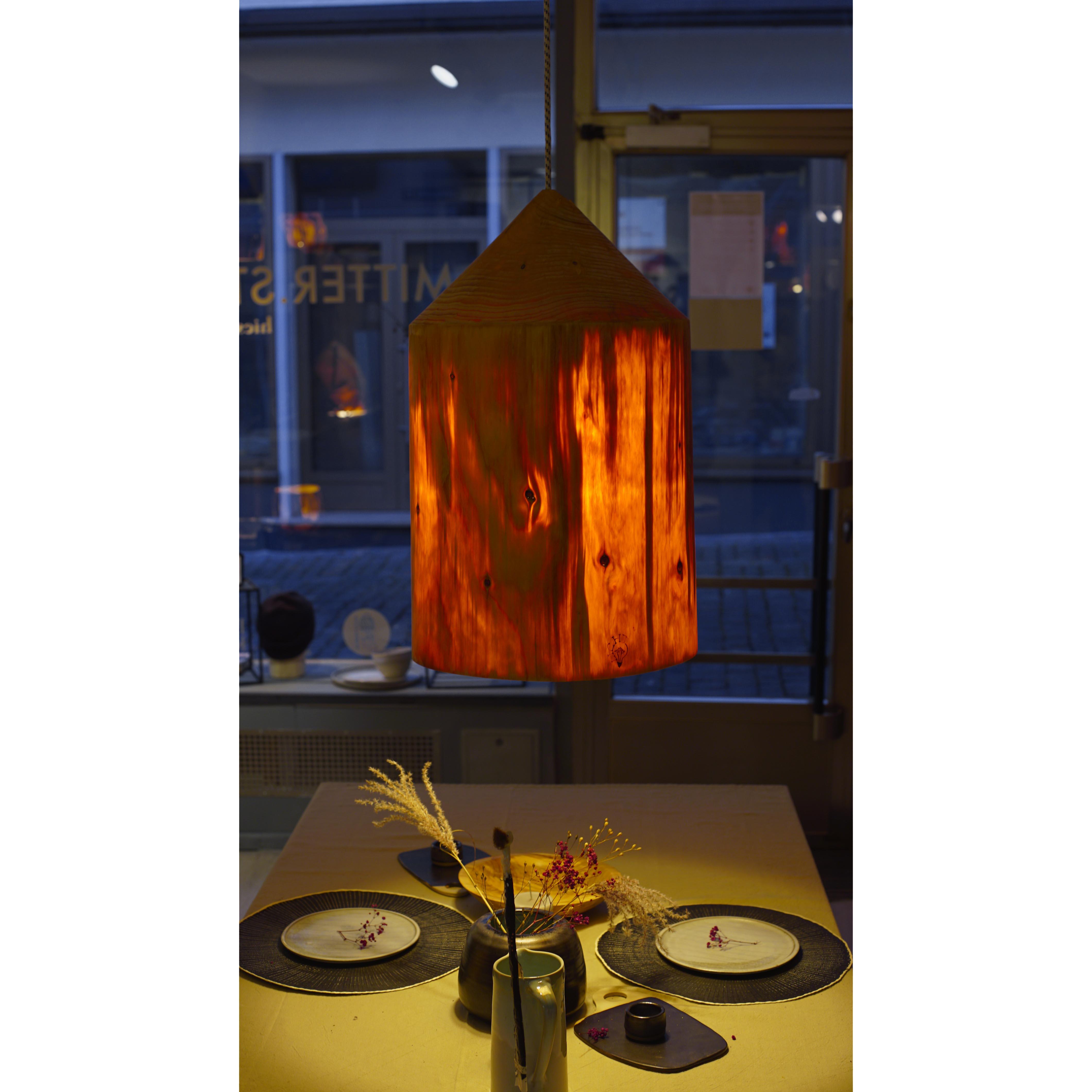 Holzlampe Groß Fichte D38 H60 / Ohne Kabel/Installation HD-L001