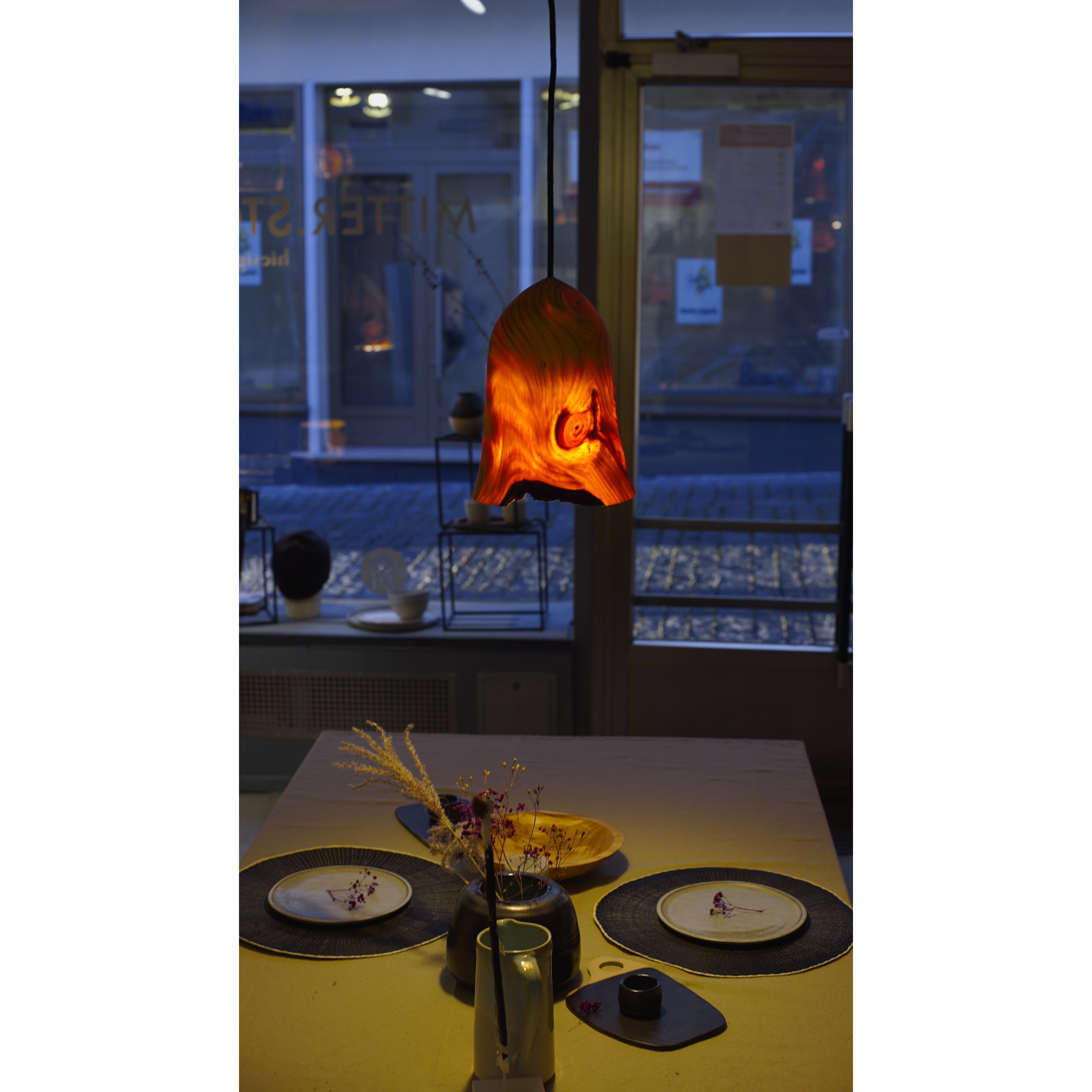 Holzlampe Kiefer klein D20 H27 / ohne Installation und Leuchtmittel HD-L046