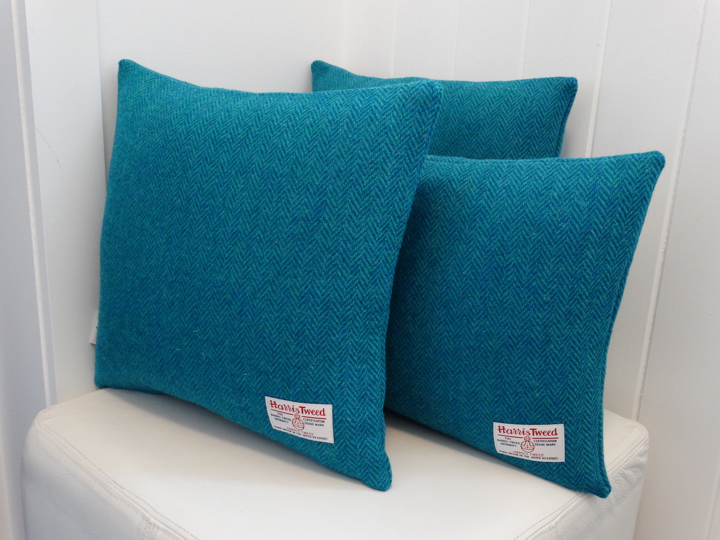 Blue (04) Cushion Cover in 12 Herringbone HARRIS TWEED®