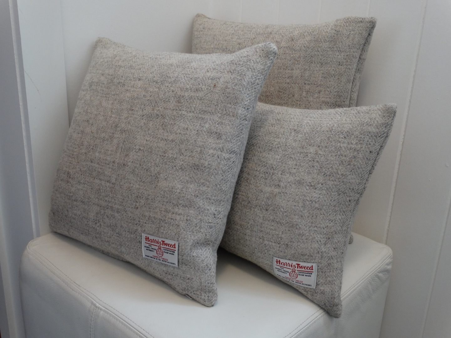 Grey (Light 100) Cushion Cover in 12 Herringbone HARRIS TWEED®