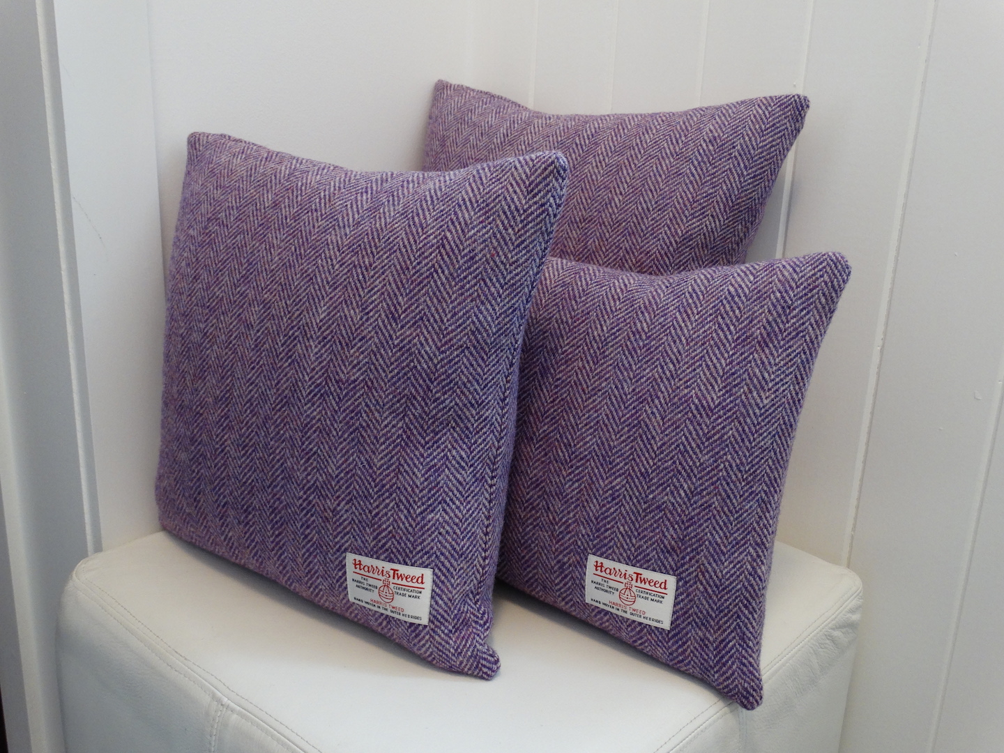 Purple (02) Cushion Cover in 12 Herringbone HARRIS TWEED®