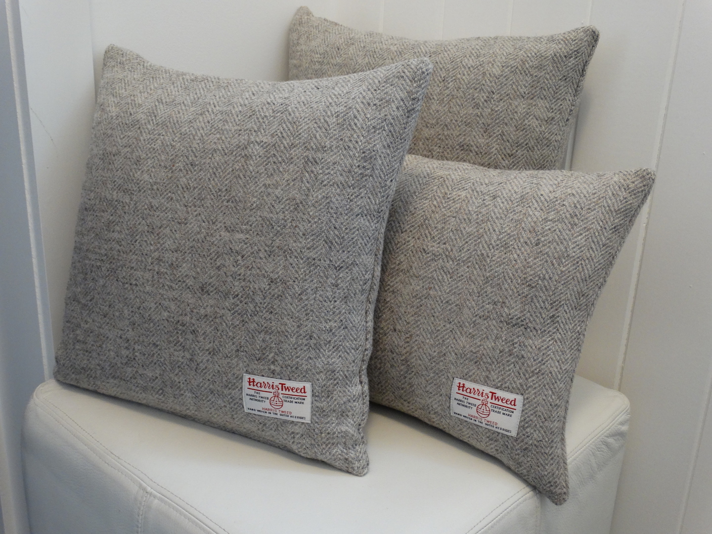 Grey (Light 101) Cushion Cover in 12 Herringbone HARRIS TWEED®