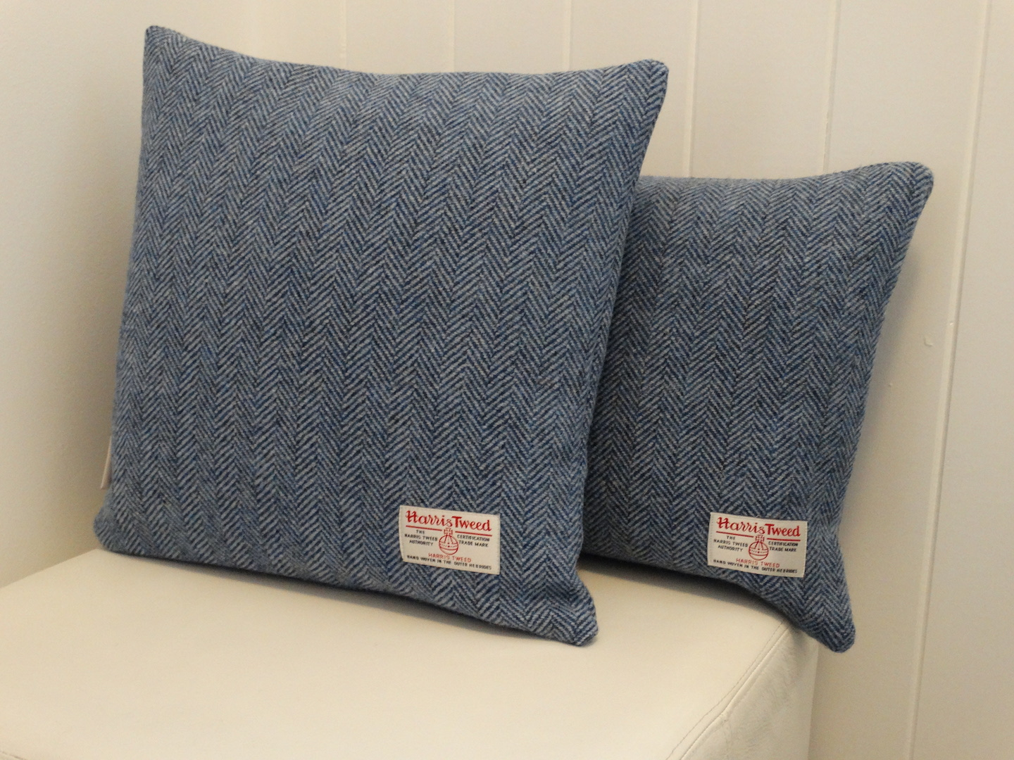 Blue (01) Cushion Cover in 12 Herringbone HARRIS TWEED®