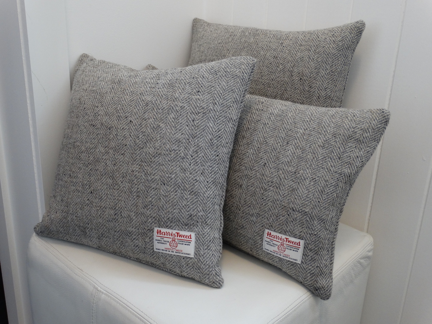 Grey (Light 102) Cushion Cover in 12 Herringbone HARRIS TWEED®