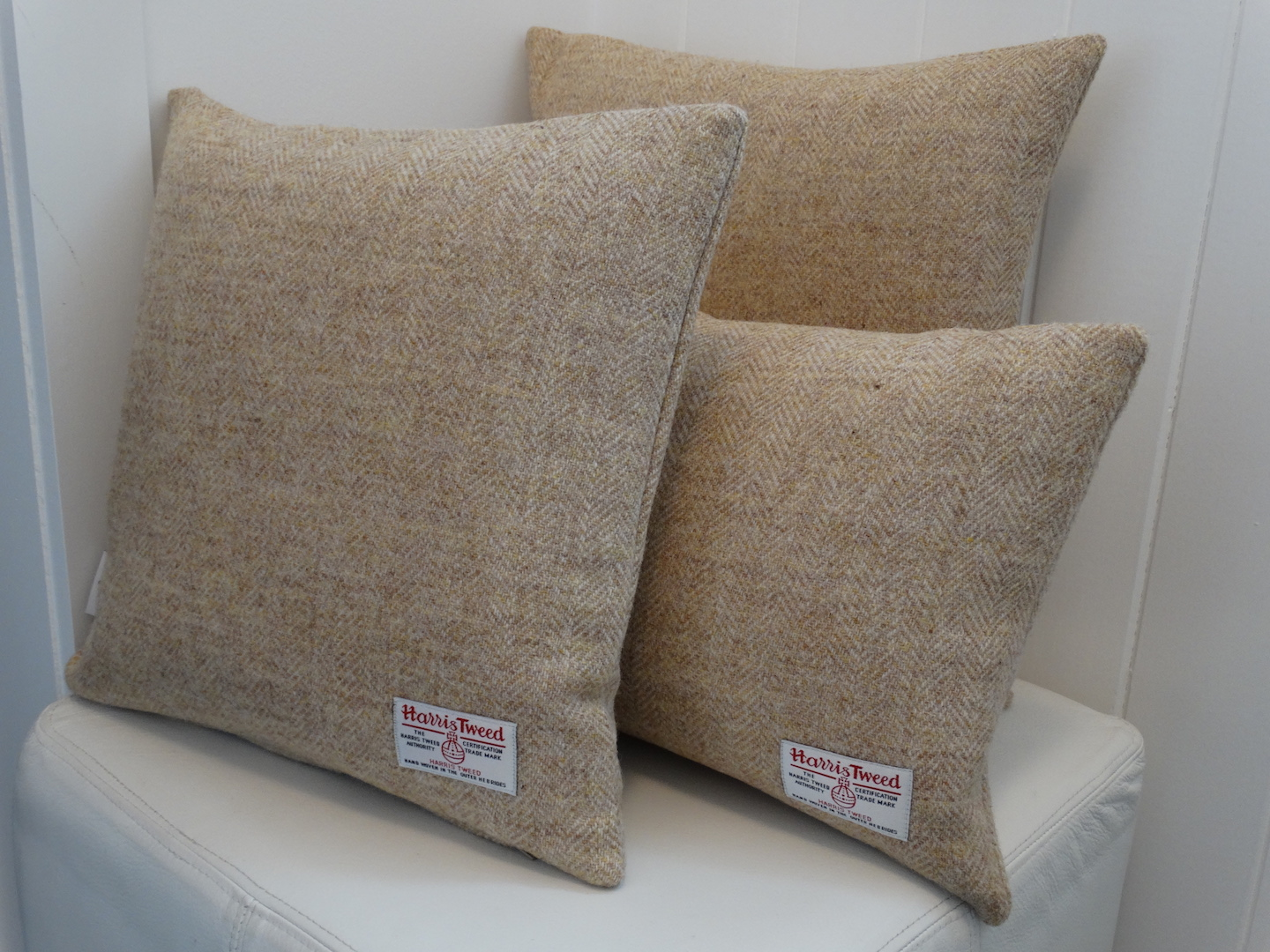 Oatmeal (180) Cushion Cover in 12 Herringbone HARRIS TWEED®