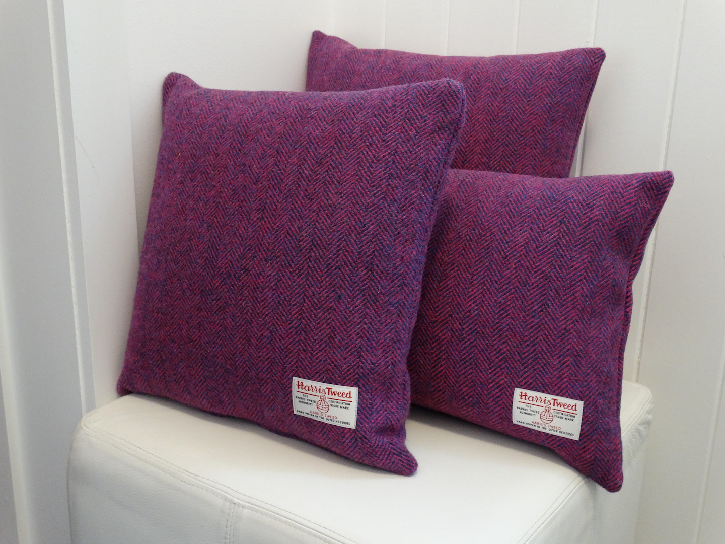 Purple (01) Cushion Cover in 12 Herringbone HARRIS TWEED®