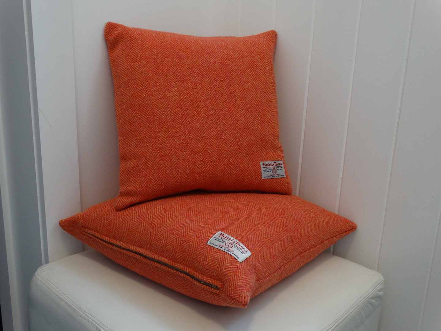 Coral (01) Cushion Cover in 12 Herringbone HARRIS TWEED®