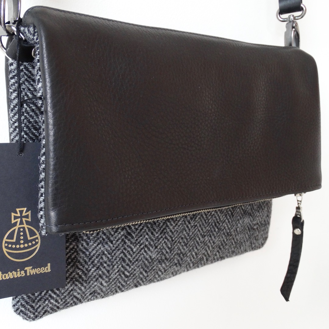 Grey (Dark) HARRIS TWEED / Black Italian Leather - Envelope Bag
