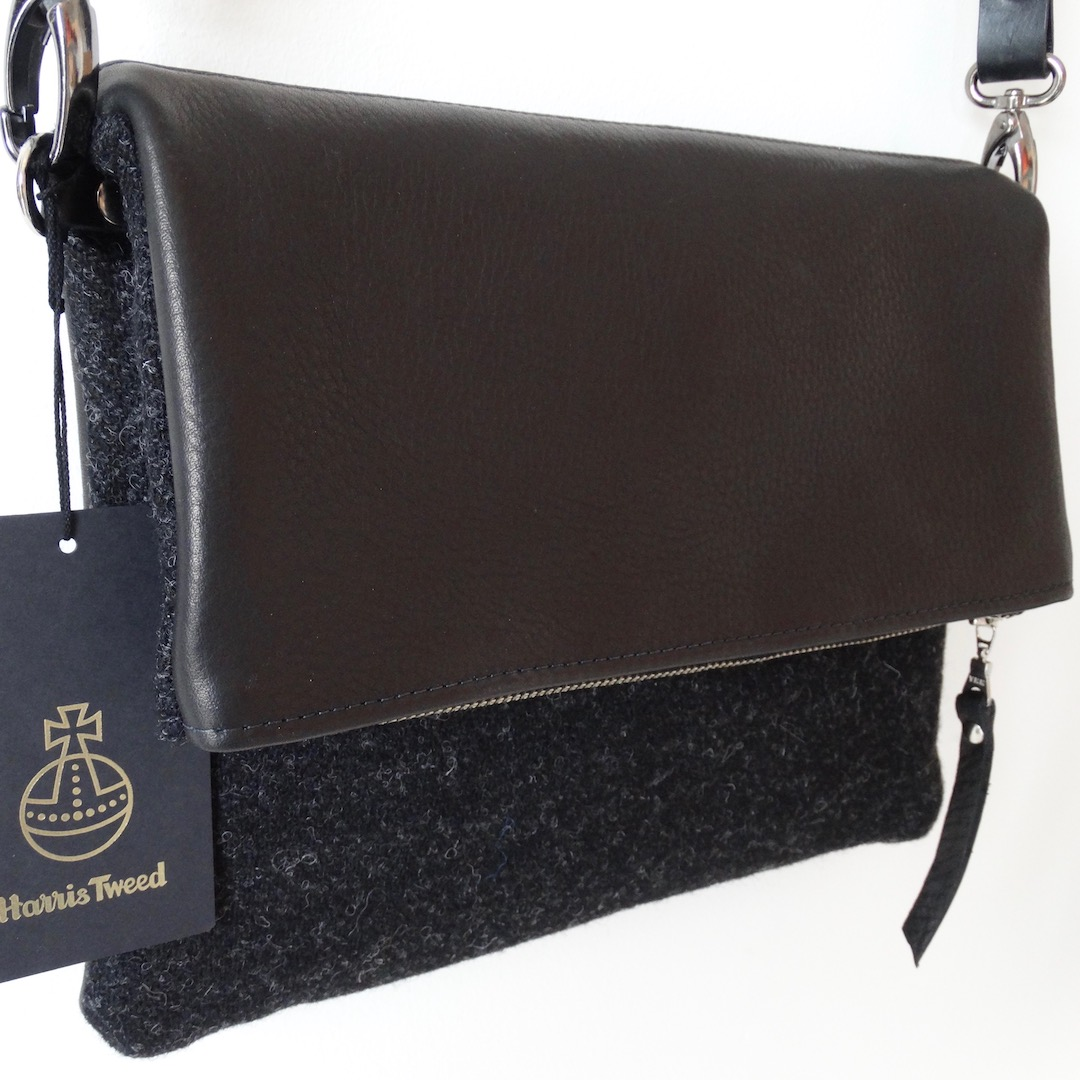 Black HARRIS TWEED / Black Italian Leather - Envelope Bag