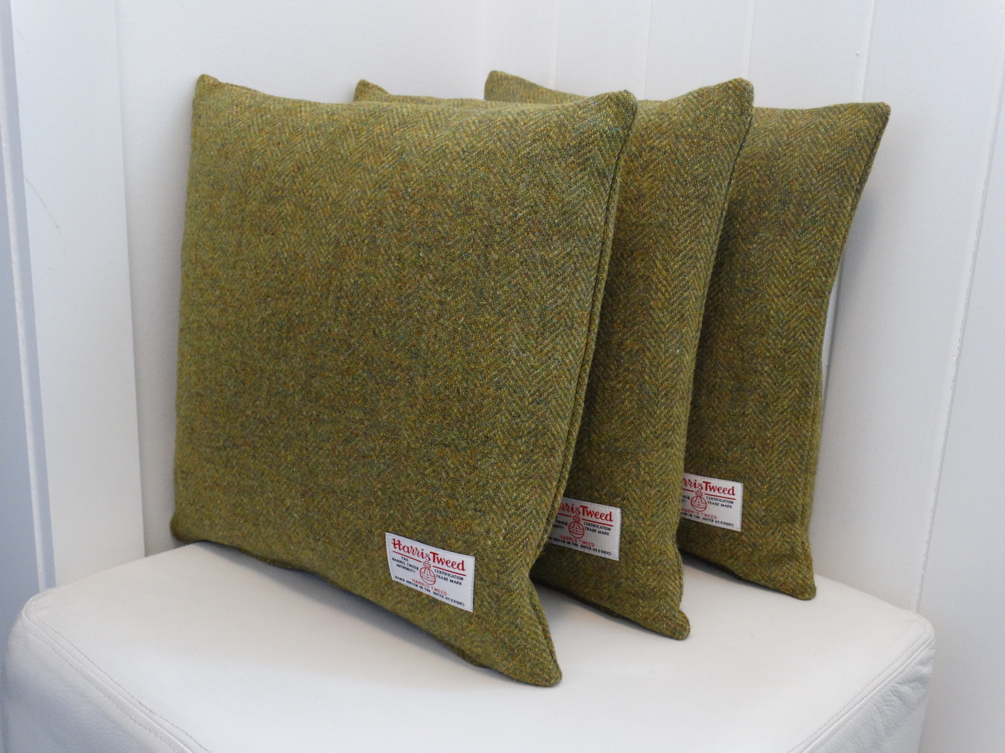 Green (02) Cushion Cover in 12 Herringbone HARRIS TWEED®