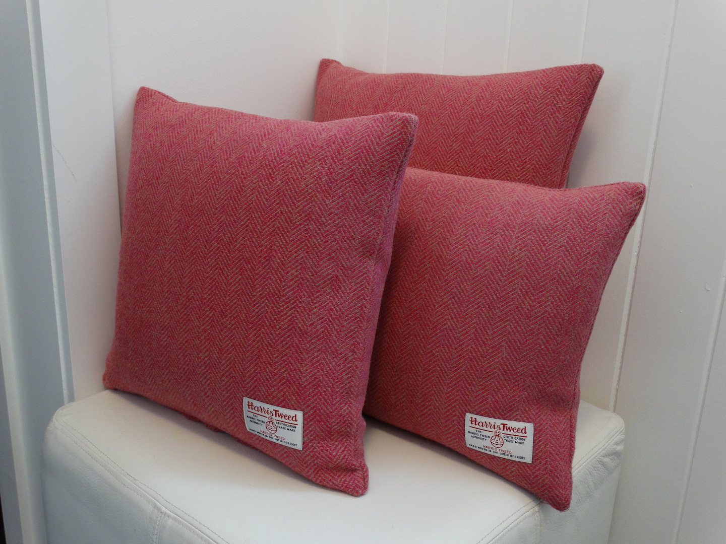 Pink (01) Cushion Cover in 12 Herringbone HARRIS TWEED®