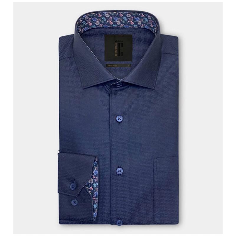 Labyrintmönstrad jaquardskjorta mörkblå