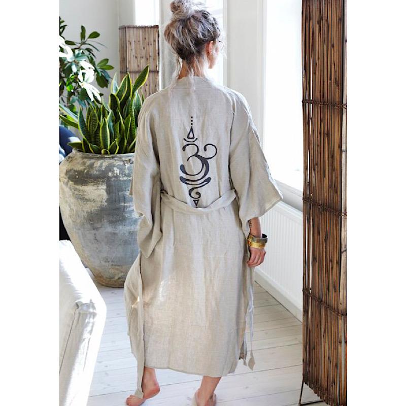 Lång Kimono i linne