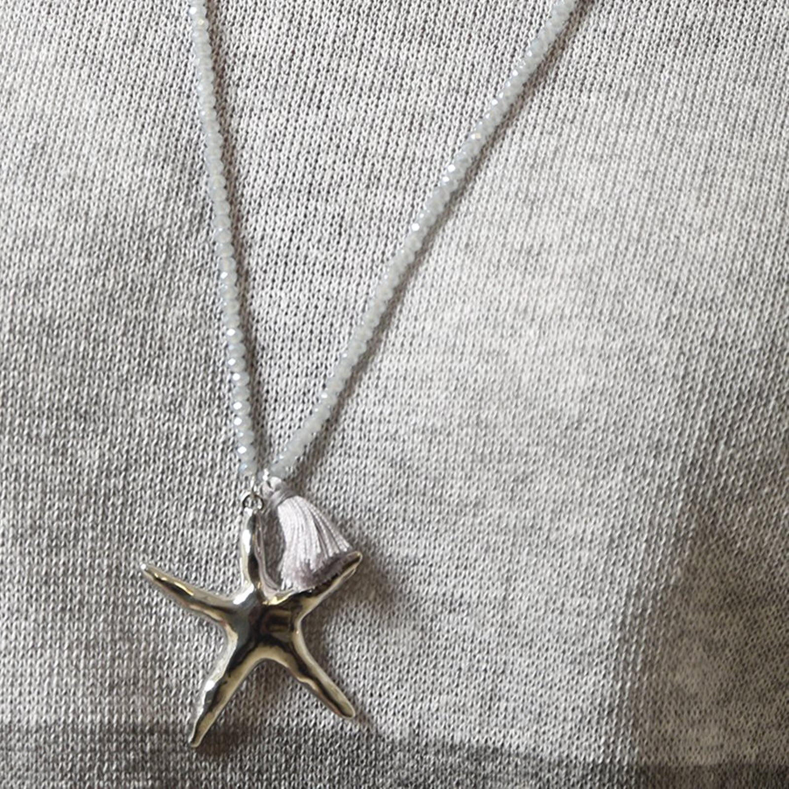 Light Grey Silver Starfish Charm Beaded Necklace