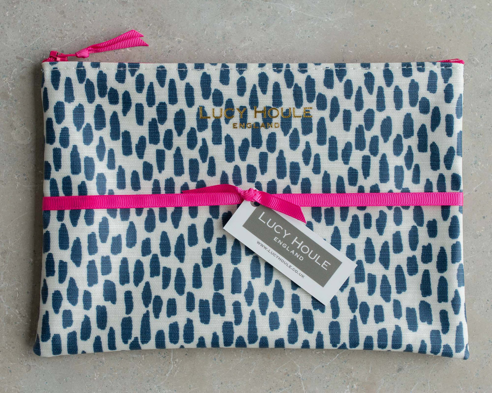 Navy Cobblestone Make-Up Bag with Pink Zip