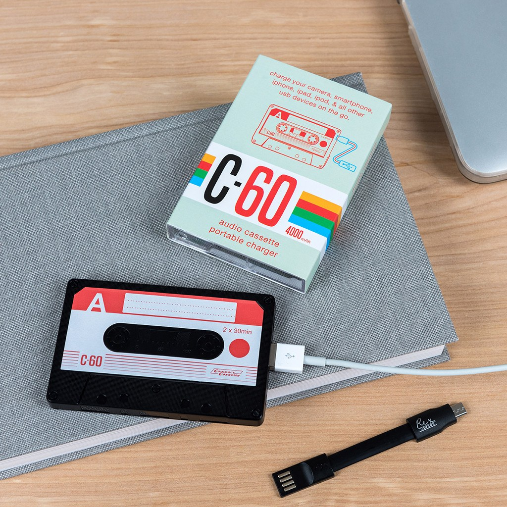 Cassette tape portable usb charger