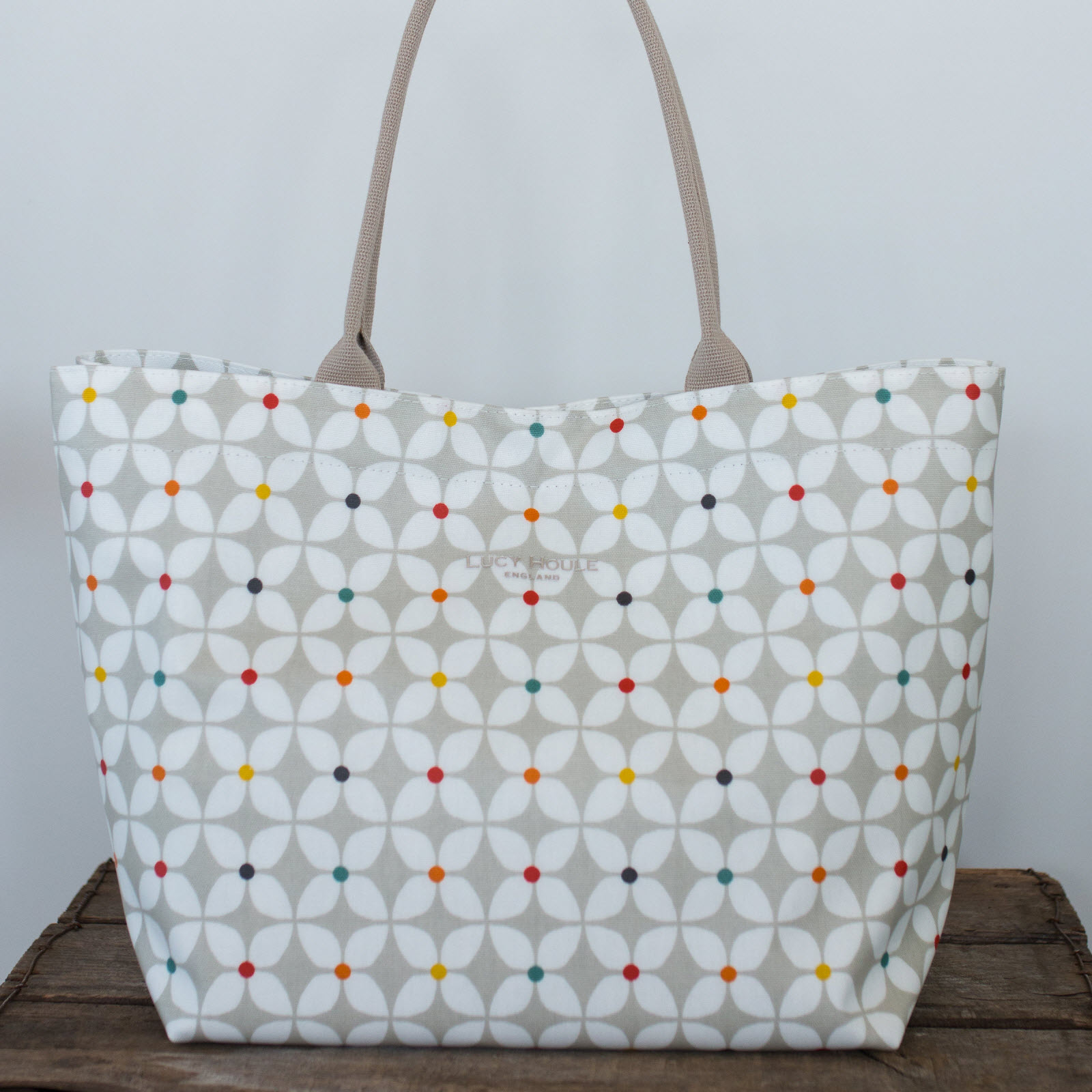 Modern Daisy Taupe Medium Tote Bag with Taupe Handles