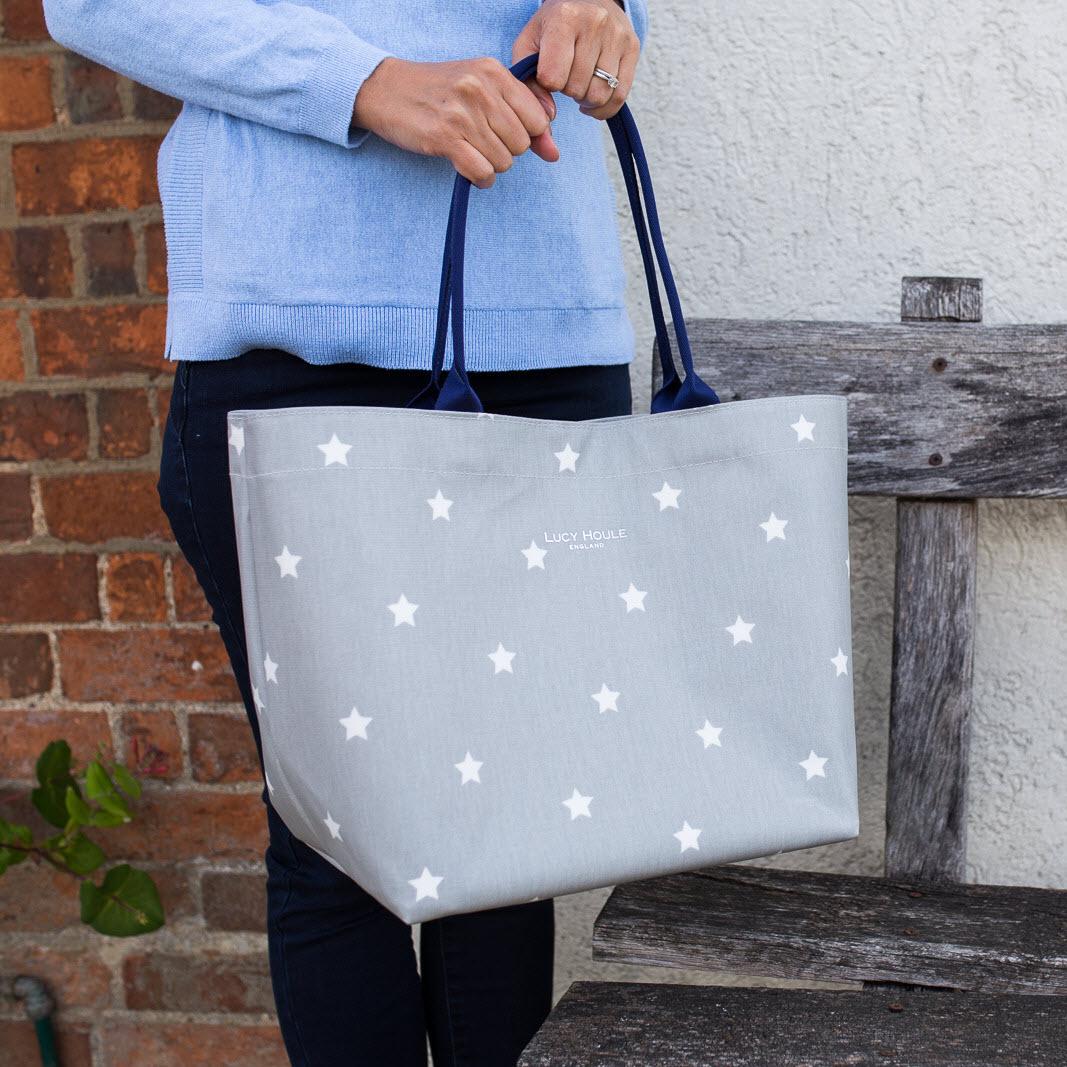 Grey & White Star Medium Zip Tote Bag with Navy Handles