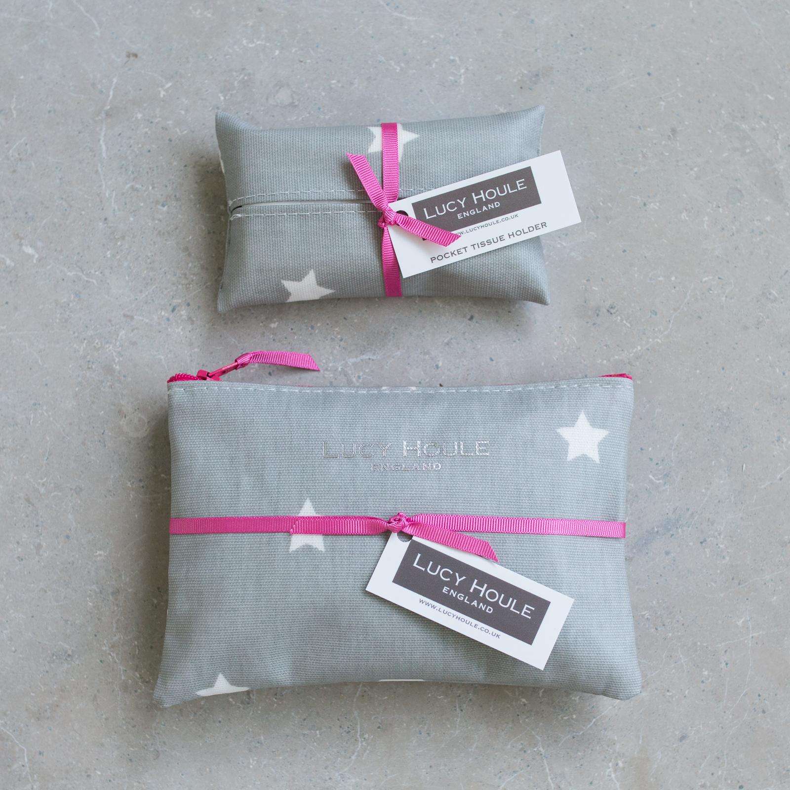 Grey & White Star Handbag Set Pink Zip