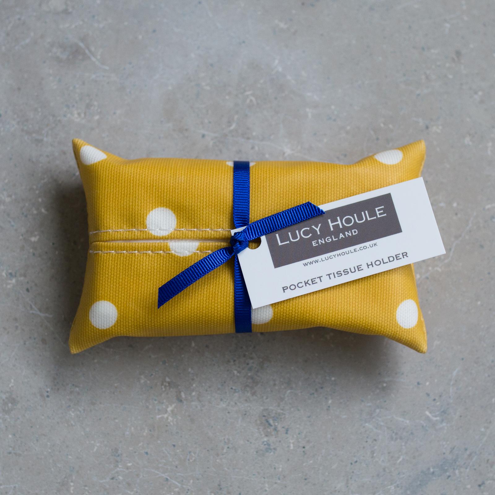 Honey & White Spot Pocket Tissue Holder Navy