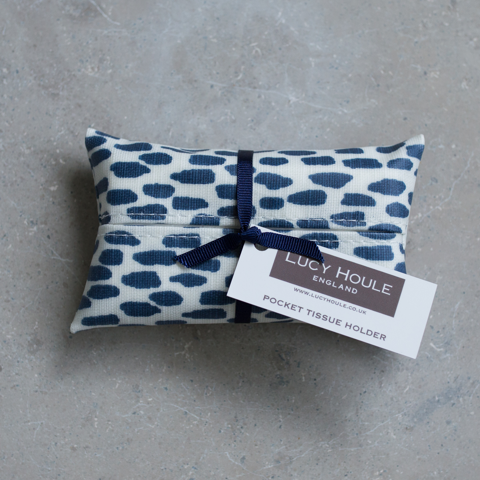 Navy Cobblestone Pocket Tissue Holder Navy