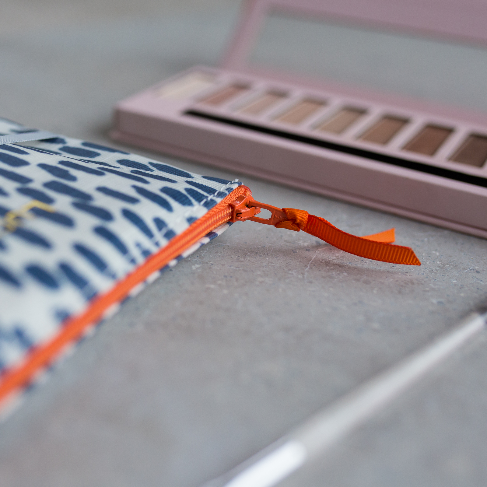 Navy Cobblestone Make-Up Bag with Orange Zip
