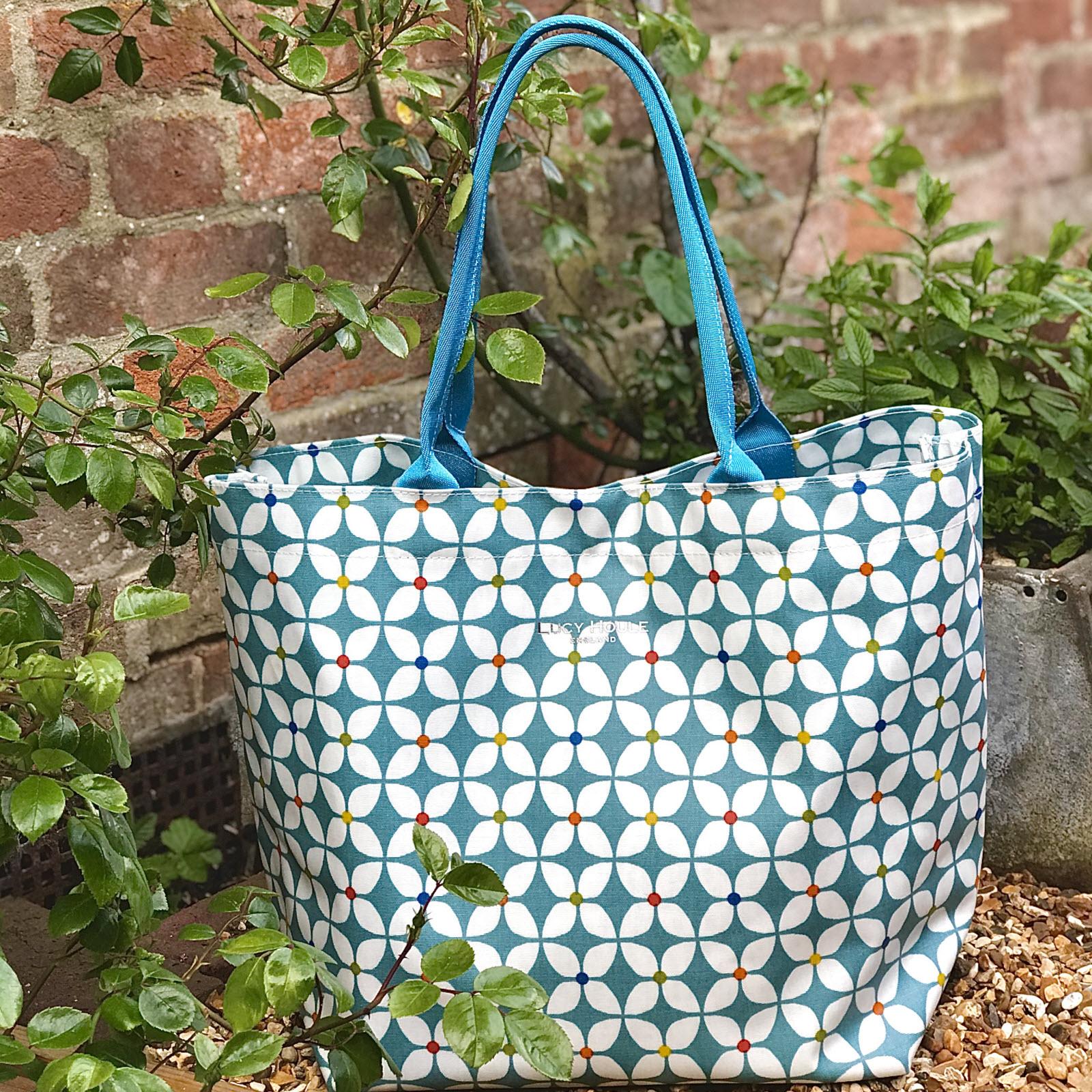 Modern Daisy Aqua Large Tote Bag with Aqua Handles